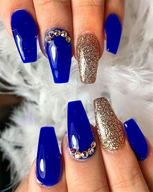 Gorgeous Royal Blue Coffin Nails Design Quinceanera Nails Blue Prom Nails Coffin Nails Designs