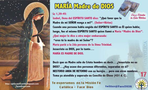 """MARÍA Madre de DIOS Lc 1,39-45:  Isabel, llena del ESPÍRITU SANTOdice: """"¡Qué favor que la  Madre de miSEÑORvenga a mí!"""". (Señor=Kirios)  Cuando una persona habla ungida delESPÍRITU SANTOes Él quien habla; luego, fue el mismoESPÍRITU SANTOquien llamó a María """"Madre de Dios"""". ¿Qué mujer le dice a otra mujer embarazada:  """"eres tú la madre de mi Señor""""? María parió a la 2da persona de la Stma Trinidad.  Jesucristo es DIOS, por lo tanto….  MARÍA ES MADRE DE DIOS."""