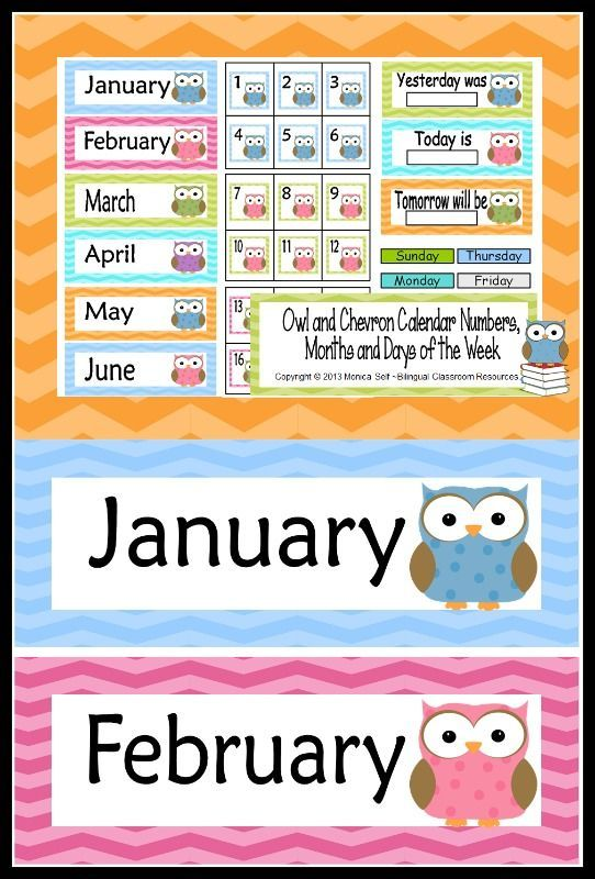 Owl And Chevron Calendar Numbers Months And Days Of The Week
