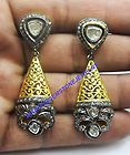 VICTORIAN ROSE CUT DIAMOND EARRING ANTIQUE  STYLE SILVER DANGLE FREE SHIPPING