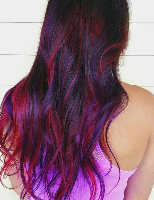 20 Pretty Purple Highlights Ideas For Dark Hair Hair Dying