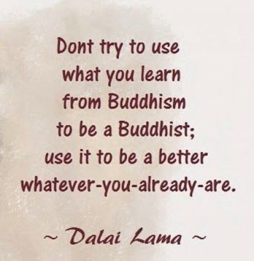 """Don't try to use what you learn from Buddhism to be a Buddhist; use it to be a…"