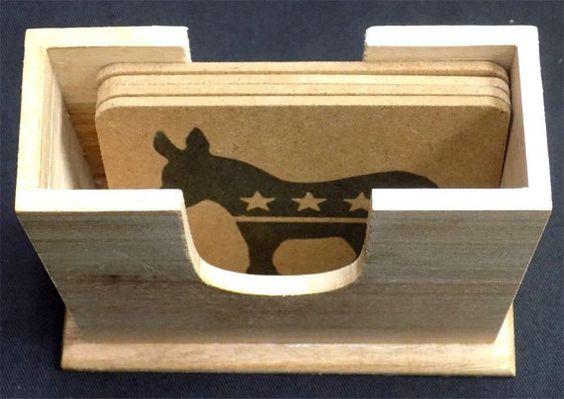 Democrat Donkey Bar Vote Wood varnished 4 Coaster Set Holder Patch Gift COA-0011