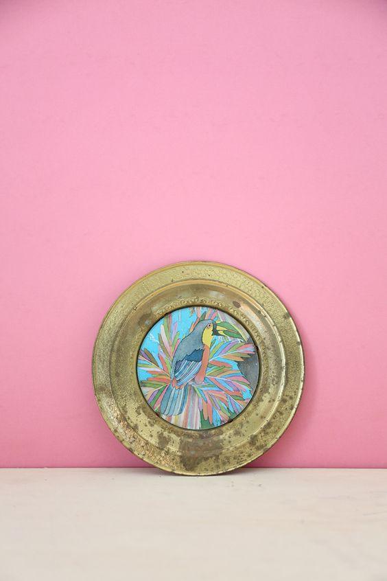 Parrot Metal Decorative Plate #2