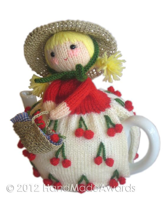 Scarlett and her Cherries PDF Email Knit PATTERN by HandMadeAwards, $4.50: