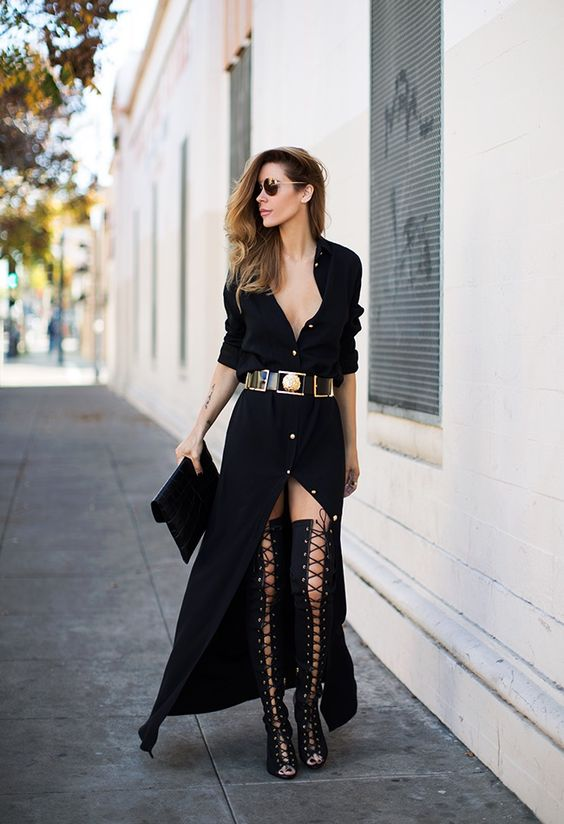 Thigh High Over The Knee Lace Up Boots Black Button