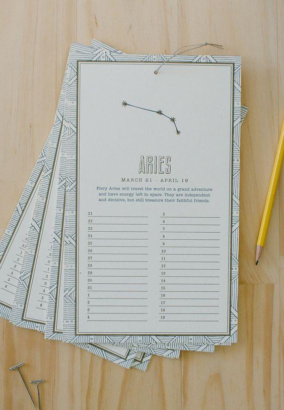 Calendar Organization Zodiac : Zodiac letterpress birthday calendar design pinterest