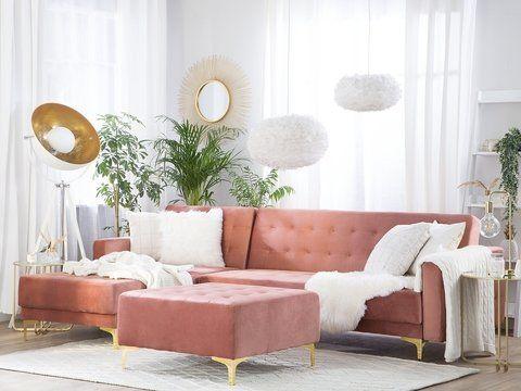 Right Hand Velvet Corner Sofa With Ottoman Pink Aberdeen Corner Sofa With Ottoman Velvet Corner Sofa Corner Sofa