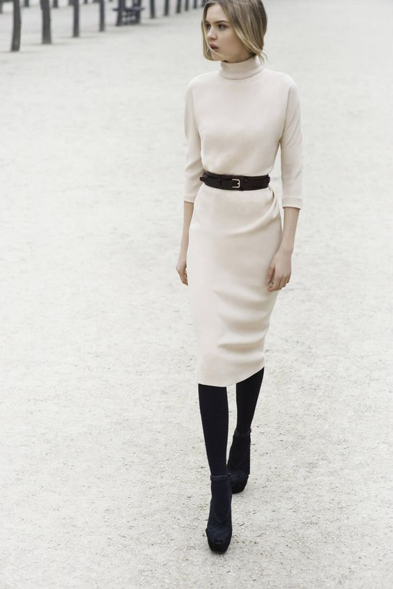 ✕ So cozy and chic / via musings in femininity / #style #classic #neutral: Turtleneck Dress, Sweater Dresses, Winter White, White Dress, Work Outfit, Black Tights, Fall Winter