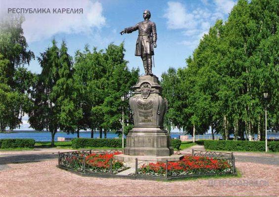 Monument uit c. 1873 voor Peter de Grote in Petrozavodsk. Het standbeeld is gemaakt door Ivan Nikolaevich Shreder (1835-1908).