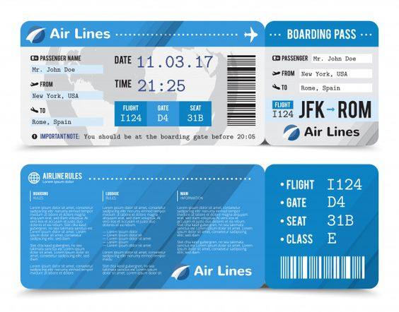 Colored realistic boarding pass composition with information about passenger on the front side and the back Free Vector