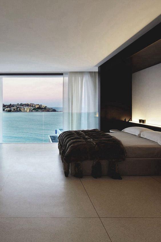 Modern bedroom. Ocean view