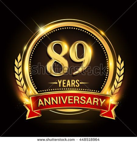 Celebrating 89 years anniversary logo with golden ring and red ribbon.