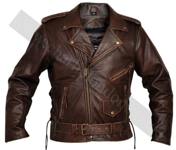 Classic Men&39s TOP GRADE Brown Biker Motorcycle Jacket | Charlie