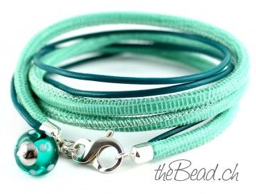 leather bracelet with lampwork bead