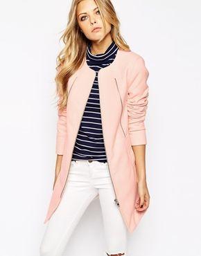 Noisy May Pastel Collarless Coat | Coats ASOS and Pastel