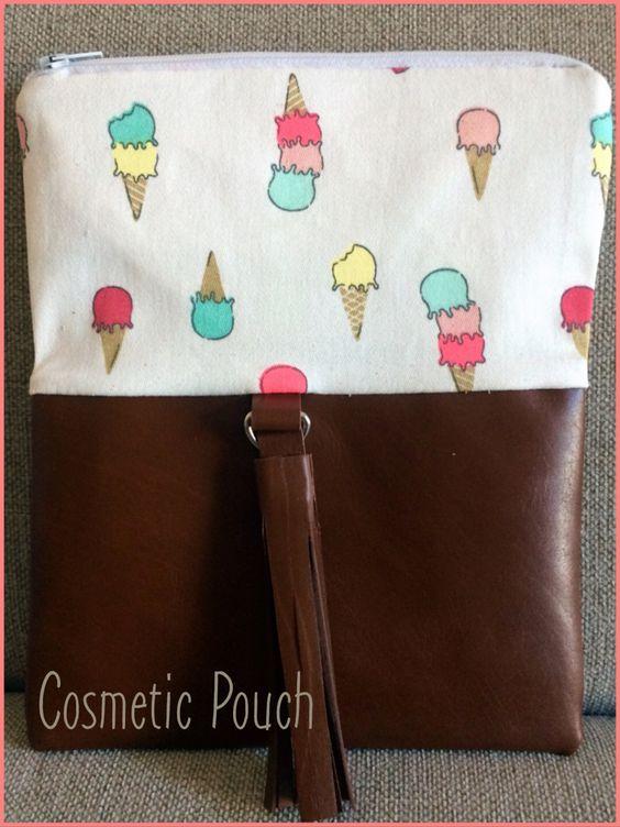 Kosmetik Tasche Eiscreme  Leder & Baumwolle #homemadebypatricia