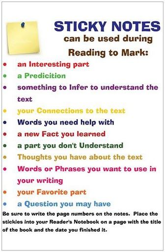 Sticky note poster - would be great to shrink and have students glue into their reading notebooks