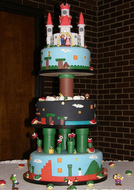 Mario video game Wedding cake by About the Cake, via Flickr   Super Mario Brothers Nintendo NES Groom