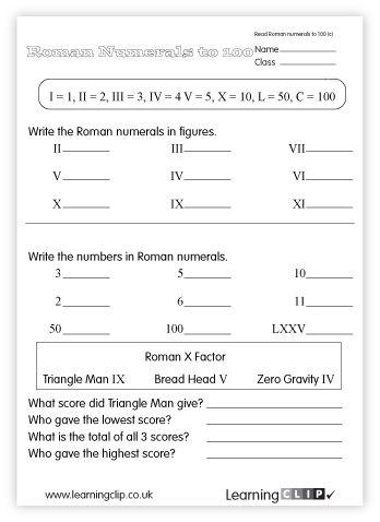 Grade 4 Roman Numerals Worksheets - free