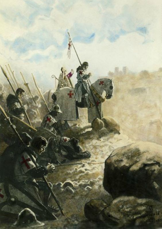 .Prayer before battle a Timpler Knight and his men