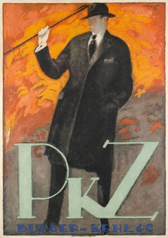PKZ (Loupot Charles / 1921) One of the best Charles Loupot poster from his Swiss period, for PKZ, the famous clothing.