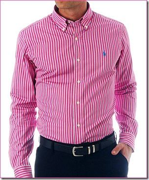 Nice pink pinstriped dress shirt.