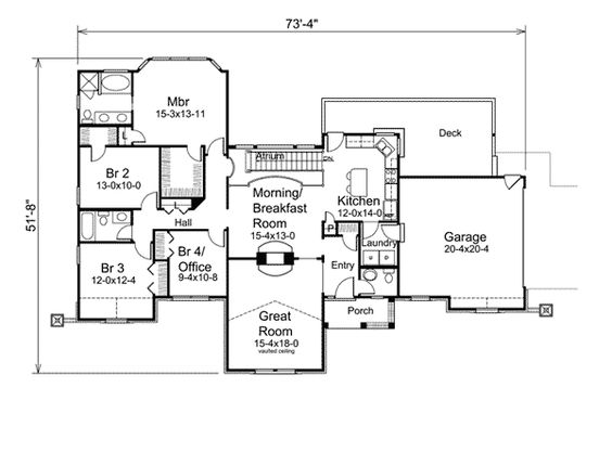 Compton park atrium ranch home house plans fireplaces for Fireplace floor plan