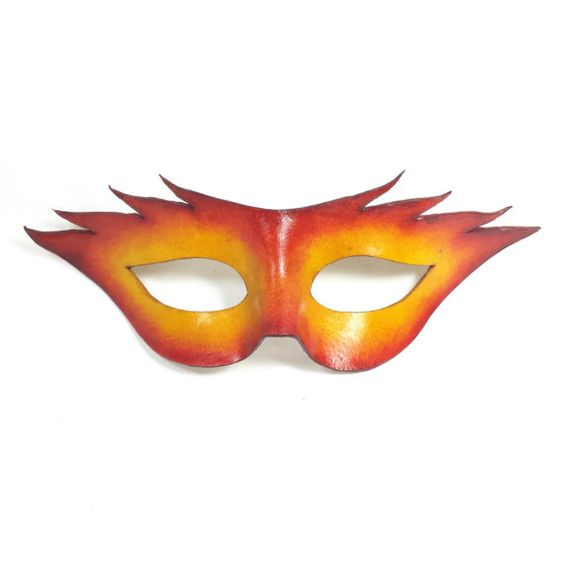 Here is a striking Yellow/red sunburst leather mask. The eye holes are fairly large for good visibility and will fit both men and women nicely.