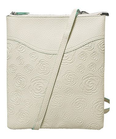 White Flower-Embossed Faux Leather Crossbody Bag by Mellow World #zulily #zulilyfinds