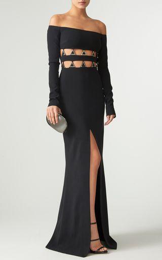Off the Shoulder Cutout Evening Dress