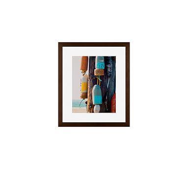 """Beach Buoys by Cindy Taylor, 13 x 11"""", Wood Gallery Frame, Espresso, Mat"""
