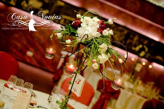Tall candelabra, floral arrangement