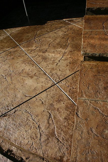 Brown Stamped Concrete Patio : Seamless stamped concrete patio and steps with rough