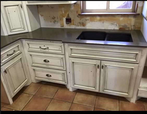 White cabinets with a gray glaze  Kitchen pantry Laundry Remodel