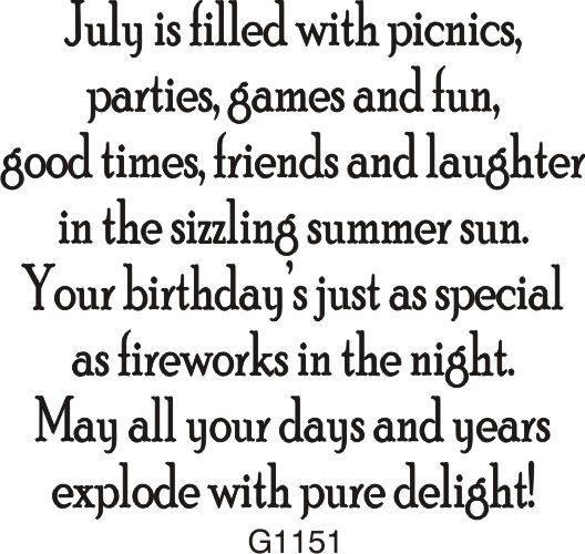 July Birthday Greeting - 1151G - DRS Designs