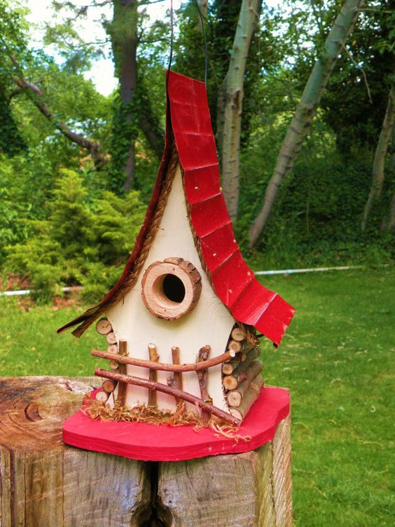 Bird House, functional and decorative birdhouse, unique and  whimsical Birdhouse in color options, garden art, gift, garden decor