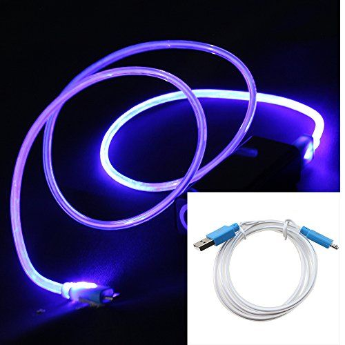 AGPtek Blue LED Light Visible Micro USB Charging Data Sync Cable for HTC Samsung Galaxy S3 S4 S5 Note 2 3 HTC One Sony Android Phone and Tablet