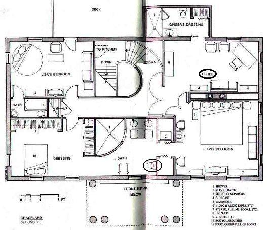 Map Of Upstairs At Elvis Graceland Graceland Elvis Presley Graceland Elvis