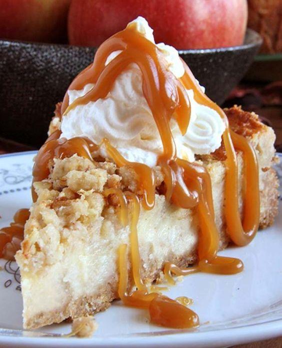Caramel Apple Crisp Cheesecake | 16 Intensely Delightful Homemade Cheesecake Recipes