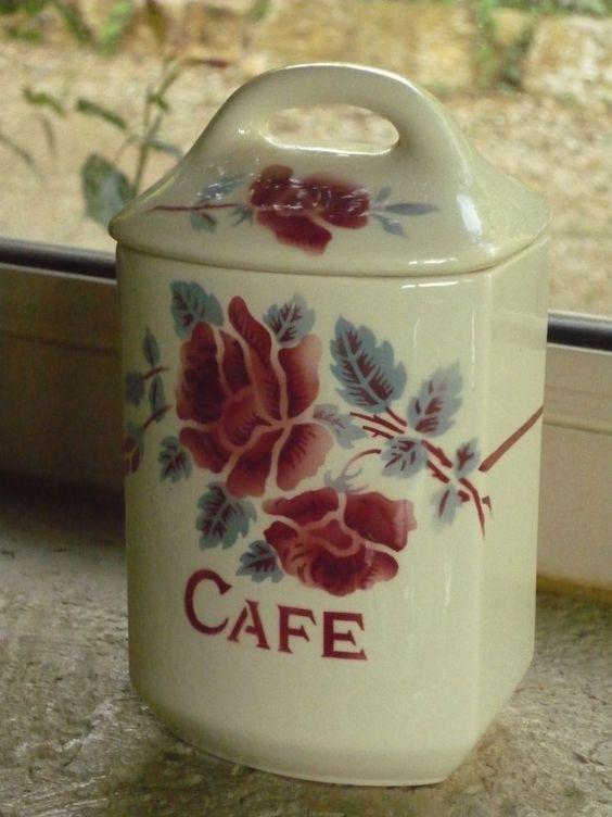 ANCIEN POT A EPICES CAFE DECOR ROSES BORDEAUX SIGNE ELIANE  SARREGUEMINES