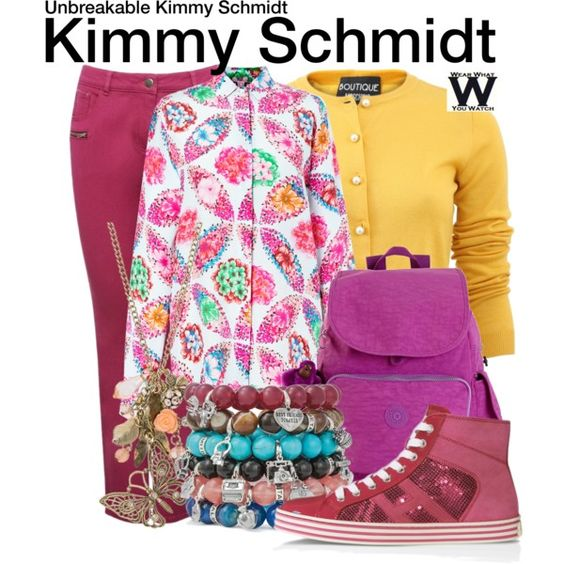 Unbreakable Kimmy Schmidt by wearwhatyouwatch on Polyvore featuring MSGM, Boutique Moschino, M&Co, Hogan Rebel, Kipling, maurices, television and wearwhatyouwatch