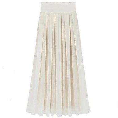 Women's Noble Fashion Beach Chiffon Solid Color Maxi Skirt – USD $ 31.19