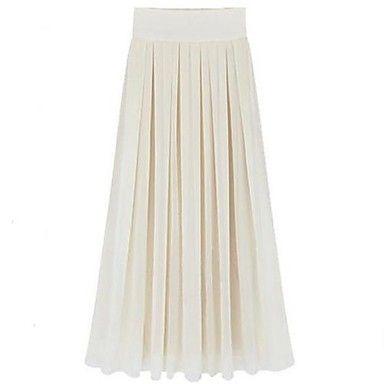 Women's Noble Fashion Beach Chiffon Solid Color Maxi Skirt – USD $ 31.19