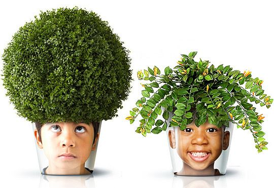 Turn Your Family Into Planters - Get your little ones interested in indoor gardening with funny photo planters!  You can make large print outs on the cheap to wrap around your pots...use Mod Podge to adhere your photo to the pot.