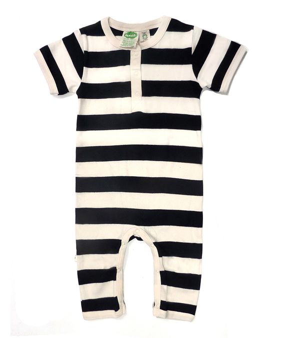 Black & White Stripe Organic Henley Playsuit - Infant | zulily