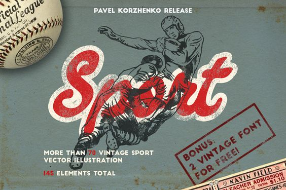 145 Sport objects + 2 FONT FOR FREE! by Vintage Voyage Design Co. on @creativemarket
