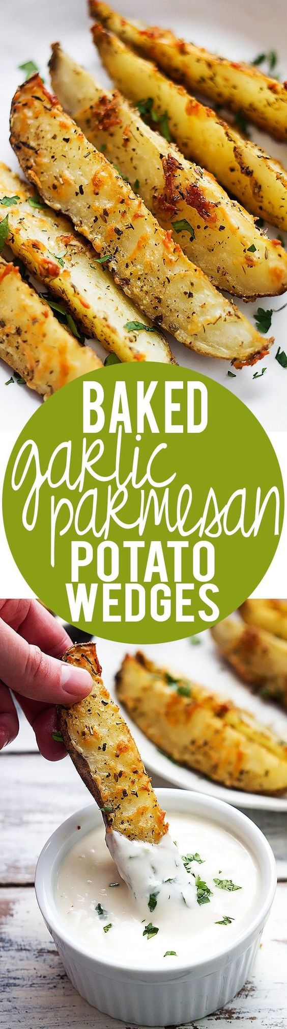 Garlic and parmesan seasoned potato wedges oven roasted to golden tender perfection!: