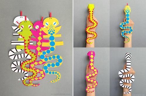Manualidades con papel serpientes t teres de colores - Manualidades para ninos faciles y divertidas ...