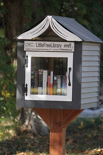 "12: She runs a Little Free Library outside her home. The Little Free Library is an organization that promotes literacy and community in towns. Their system is to have volunteers build and maintain little libraries where passersby can ""take a book, leave a book."" http://littlefreelibrary.org/ (Spokane, WA #2410)"